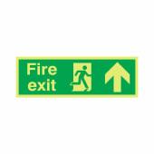 NITE-GLO Fire Exit Running Man - Arrow Up - 150 x 450mm)