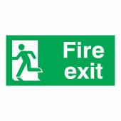 Fire Exit Man Left - 150 x 300mm - Rigid Plastic)