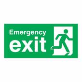 Emergency Exit Running Man Right - 150 x 300mm - Rigid Plastic)