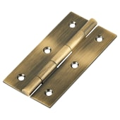 Solid Drawn Hinge - 75 x 40 x 2.0mm - Antique Brass - Pair)