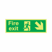 NITE-GLO Fire Exit Running Man - Arrow Down Right - 150 x 450mm)