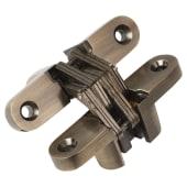 Tago Concealed Hinge - 70 x 16mm - Antique Brass - Pair)