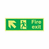 NITE-GLO Fire Exit Running Man - Arrow Up Left - 150 x 450mm)