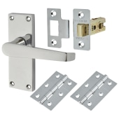 Touchpoint Budget Straight Door Handle Kit - Latch Set - Polished Chrome)