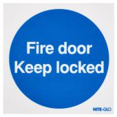 Nite Glo Fire Door Keep Locked - 100 x 100mm)