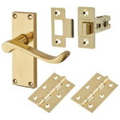 Touchpoint Budget Scroll Door Handle Kit - Latch Set - Polished Brass)