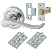 Touchpoint Scroll Lever Door Handle on Rose - Door Kit -  Polished Chrome)