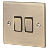 Hamilton Hartland 10A 2 Gang 2 Way Switch - Antique Brass with Black Inserts)