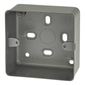 MK 1 Gang Metal Back Box without Knock Out - 41mm - Grey)