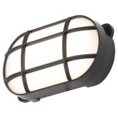 Forum Capella 8W LED Oval Grid Bulkhead - IP65 - Black)