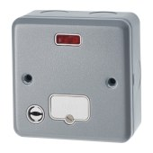 MK 13A 1 Gang Metalclad Unswitched Connection Unit with Neon and Flex Outlet - Grey)