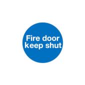 Fire Door Keep Shut - 100 x 100mm - Self Adhesive Vinyl - Pack 30)