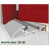 Exitex Mobility Threshold with Ramp - 2000mm - Inward Opening Doors - Mill Aluminium)