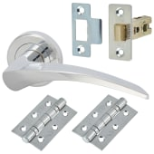 Carlisle Brass Ash Pattern Lever Door Handle on Rose - Door Kit - Polished Chrome)