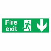 Fire Exit Down - 150 x 450mm - Rigid Plastic)