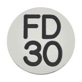 FD30 Door Sign Self Adhesive - 25mm - Silver)