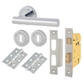 Touchpoint Bella Lever Door Handle on Rose Kit - 5 Lever Sashlock - Polished Chrome)