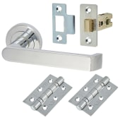 Concept Lever Door Handle on Rose - Door Kit - Polished Chrome)