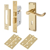 Touchpoint Budget Scroll Door Handle Kit - Keyhole Lock Set - Polished Brass)