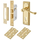 Touchpoint Budget Rope Edge Door Handle Kit - Keyhole Lock Set - Polished Brass)