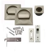 KLÜG Square Flush Handle Set with Latch - Satin Nickel)