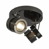Pedro Circular Cylinder Spotlight - 2 Light - Black Chrome )