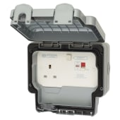 MK Masterseal Plus 13A IP66 1 Gang 30mA RCD Switched Outdoor Socket - Grey)
