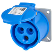ABB 16A 2 Pin and Earth Splashproof Socket Outlet  - Blue)