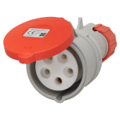 Lewden 16A 4 Pin and Earth Trailing Socket - Red)