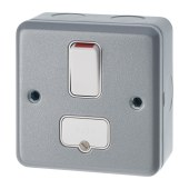 MK 13A 1 Gang Double Pole Metalclad Switched Fused Connection Unit - Grey)