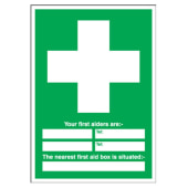 Your First Aiders Are/Nearest First Aid Box - 210 x 148mm - Rigid Plastic)