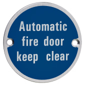 Automatic Fire Door Keep Clear - 75mm - Satin Aluminium)