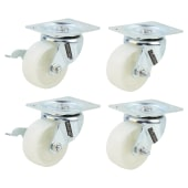 Coldene Light Duty Castor Pack - 2 x Swivel, 2 x Swivel Braked - 240kg Maximum Weight - White)