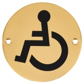 Disabled Toilet Door Sign - 75mm - Polished Brass)