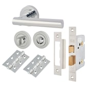 Touchpoint Bella Lever Door Handle on Rose Kit - Bathroom Lock - Polished Chrome)