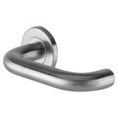 Project 19mm Return to Door Lever Handle on Rose Handle - Satin Stainless Steel)