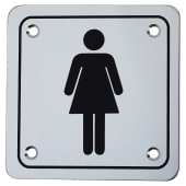 Ladies Square Toilet Door Sign - 100 x 100mm - Polished Stainless)