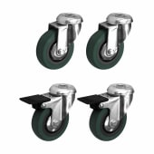 Coldene Castor Pack - 2 x Bolt Hole, 2 x Bolt Hole with Brake - 90kg Maximum Weight - Grey)