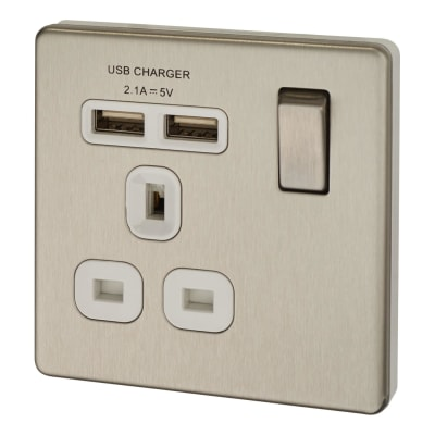 BG 13A Screwless Flatplate Socket with 2 x USB - 2.1A - Brushed Steel with White Insert