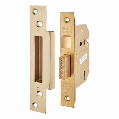 ERA® Fortress BS3621:2007 5 Lever Sashlock - 64mm Case - 44mm Backset - Brass Effect