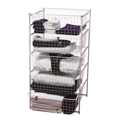elfa® Basket Tower - 5 x Medium Baskets - 1040 x 550 x 540mm - White