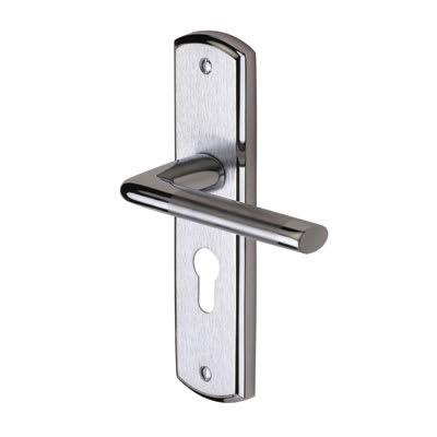 M Marcus Lena Door Handle - Euro Lock Set - Satin/Polished Chrome