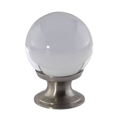 Aglio Ball Glass Cabinet Knob - 30mm - Satin Nickel