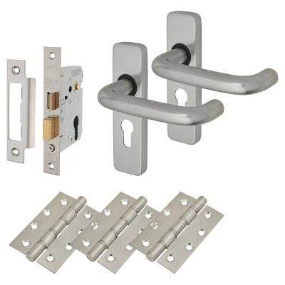 Lever on Backplate Door Kit - Euro Lock Set - Aluminium