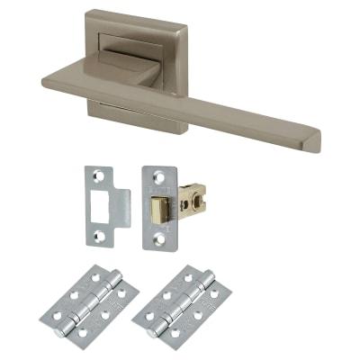 Elan Savona Lever Door Handle on Rose - Door Kit - Satin Nickel