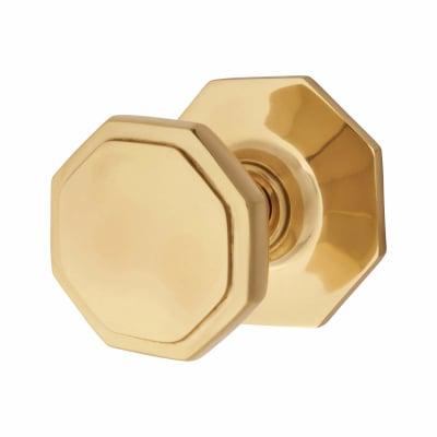 Hexagonal Period Centre Door Knob - 79mm - Polished Brass