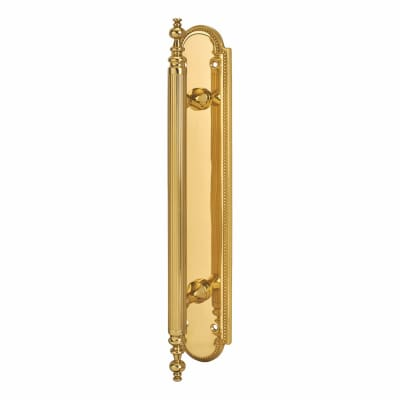 Carlisle Brass Chesham Entrance Pull Handle on Finger Plate - 300 x 55mm - Polished Brass