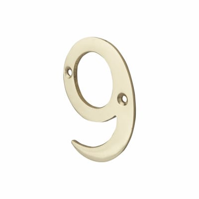 76mm Numeral - 9 - Polished Brass