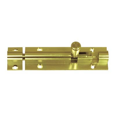 Straight Barrel Bolt - 100 x 32mm - Polished Brass