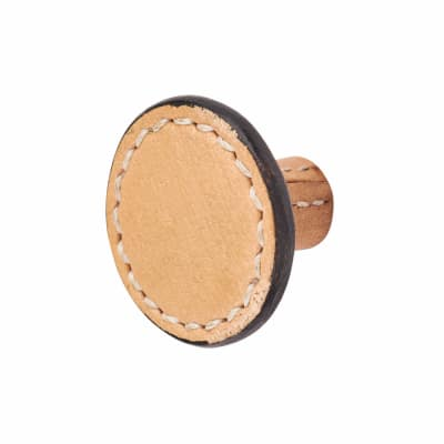 Round Leather Cabinet Knobs - Plain - Stitched - Natural